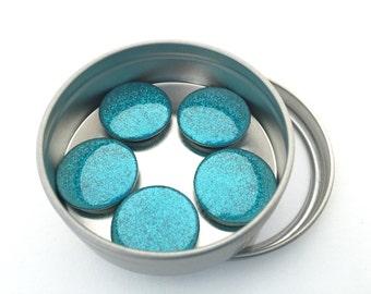 Blue Glitter Magnet Set