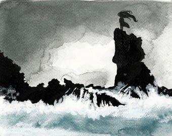 Print - black rocks