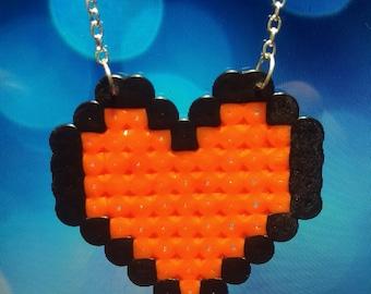 8bit orange heart necklace