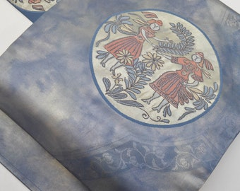 Vintage Japanese Silk Nagoya Obi belt in indigo blue colour with pictures - Pattern is called Indigo European Dancing & Chrysanthemum