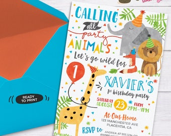 Party Animal Invitation Calling All Party Animals Zoo Birthday Invitation Party Animal Birthday Zoo Birthday Safari Birthday Invite Pa-bi