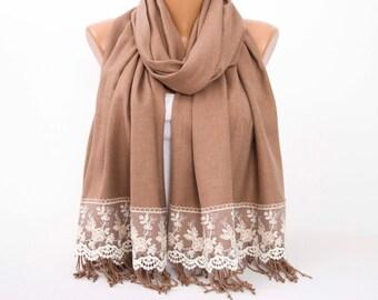 Thick Luxurios  taupe pashmina shawl scarf with french lace border  ,bridesmaid shawl, bridesmaid gift