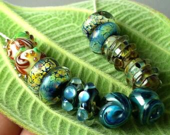 Lampwork beads/SRA lampwork/handmade lampwork/beads/glass beads/ earring pairs/ Double Helix/organic/raku/ matched pairs/
