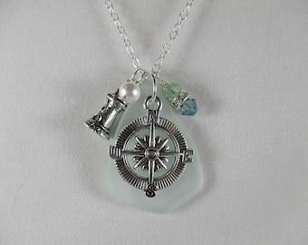 lighthouse necklace compass rose necklace nautical necklace pendant beach sea glass necklace compass rose jewelry lighthouse jewelry