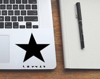 MANY COLORS&SIZES blackstar decal, david bowie blackstar sticker, trackpad decals, macbook laptop stickers, cornhole decals, ipad stickers