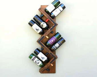 Zig Zag Wine Rack | Rustic Wood Wine Bottle Holder | Wall Mounted Wine Rack & Display