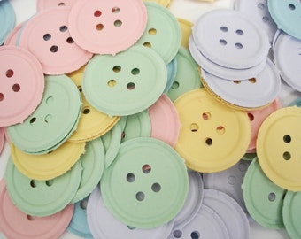 Pastel Button Confetti 100CT, Cute as a Button, Baby Shower Party Decorations - No437