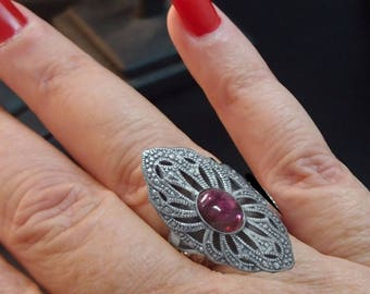 Amethyst Ring 925 Sterling Silver Antique Style Handmade Peace and peace  Energetic gifts from nature