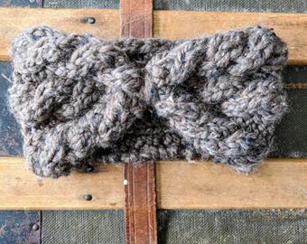 Cables For Days Taupe Headband, Warm Winter Headband, Wool Headband, Chunky Knit Headband