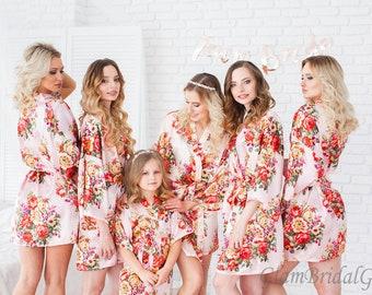 Set of 8 Silk Bridesmaid Robes, Bridesmaid Gift, Satin Bridesmaids Robes, Kimono Robes, Bridal Party Robes, Wedding Robe, Bridesmaids Robes