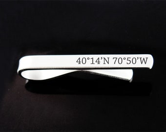 Custom Coordinates, Personalized Tie Clip, Engraved Tie Bar, Custom Gift, Father's Day, Man Gift, Custom Tie Clip, Groomsman Gift, Wedding