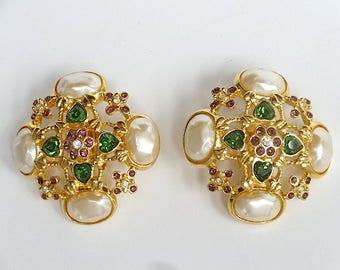 Elizabeth Taylor for Avon 1994 Forever Violet Earrings – 1990's Jewelry – Elizabeth Taylor Jewelry – Vintage Earrings - Liz Taylor Jewelry