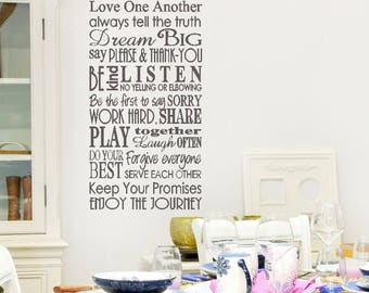 Family Rules sign, family VINYL wall decal, Our Family Rules decal, family rules decal, custom family name sign