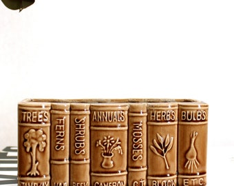 vintage ceramic book planter . gardening library bulbs herbs