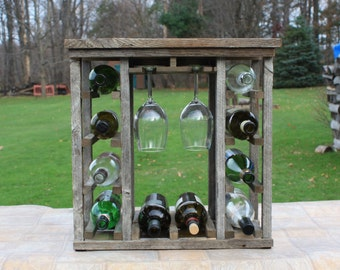 Wine Rack / Rustic Wine Rack, Barn Wood Wine Rack, Wine Rack with Glass Rack, Handmade Wine Rack, Wooden Wine Rack, Tabletop
