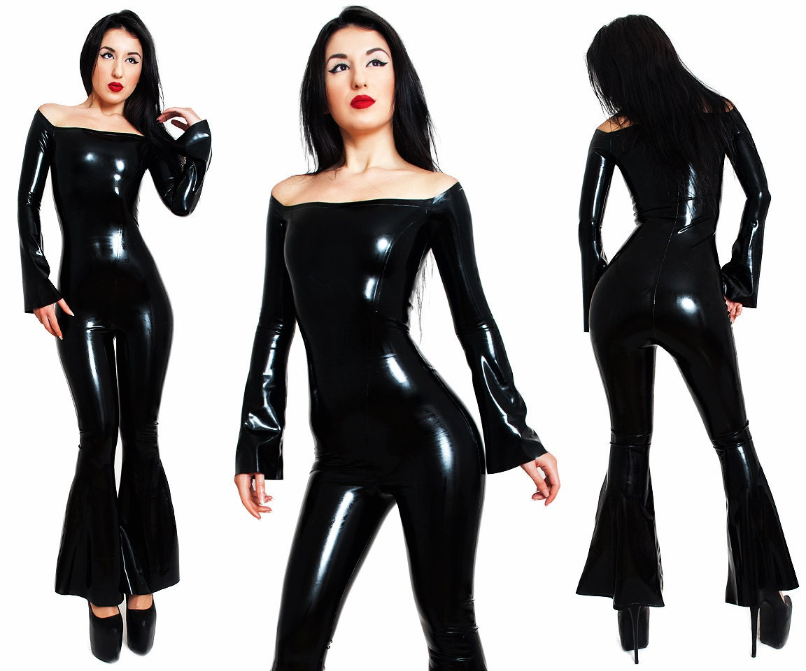 Latex Catsuit. Without A Zipper Bell Bottoms Flared Long