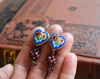 Vintage Micromosaic and Garnet Bead Cluster Earrings, OOAK Jewelry, Dangle Pierced Earrings with Leverbacks, JewelryGift for Her