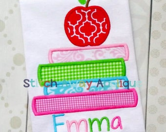 School Book Stack Back to School Machine Applique Design