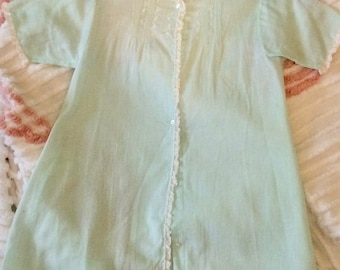 Vintage baby gown, unisex, buttons, aqua, robins' egg blue, lace, Alfred Leon, Feltman Brothers style
