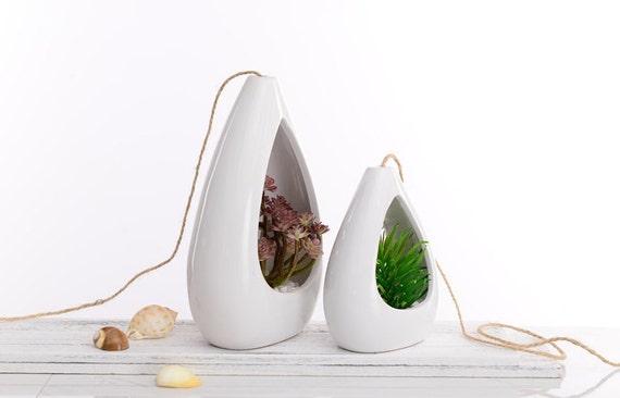 Weiße Keramik Hängen Pflanzer, Tischplatte Vase, Tillandsia Saftig Pflanzer  Inhaber, Indoor Haus Dekor, Schmücken Sie Ihre Wohnung