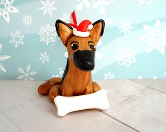 German Shepherd Ornament Dog Christmas Ornament Polymer Clay Christmas Decoration German Shepherd Christmas Ornament Pet Ornament