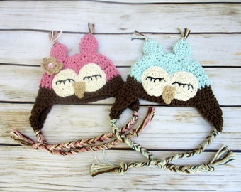 Twin Baby Owl Hats, Twin Owl Hat Set, Twin Newborn Hats, Infant Twin Hat Set, Twin Baby Costumes, Twin Halloween Costumes, Blue and Pink