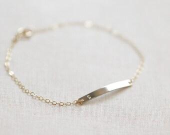 Initial Bar Bracelet | 14kt Gold Fill or Sterling Silver