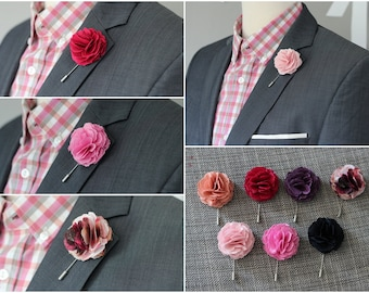 8 Carnation Flower, mens wedding boutonniere, button back pin, hat pin, brooch pin, mens grooms lapel pin