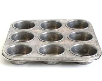 Aluminum Mini Muffin Pan 9 Cupcake Tin Vintage Food Photography Prop Square Nu-Brite