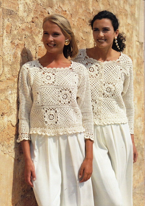 womens CROCHET PATTERN crochet jacket sweater top & waistcoat