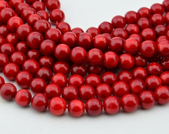 16 Inch  Sea Red  Coral  8MM  Round Bead ,  Semi Precious Gemstone Beads