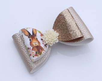 Ivory & Gold Easter Bunny Inspired Hair Bow with Flower embellishment - Large