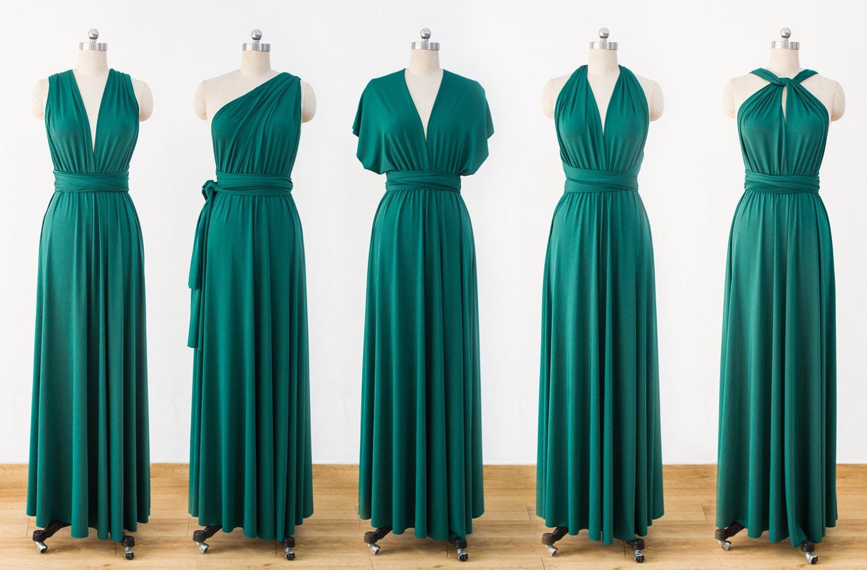 Green Maxi Infinity Dress Convertible Bridesmaid Dress cheap