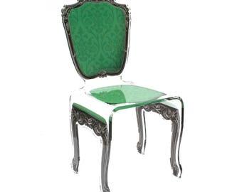 Acrylic Baroque Style Green Chair