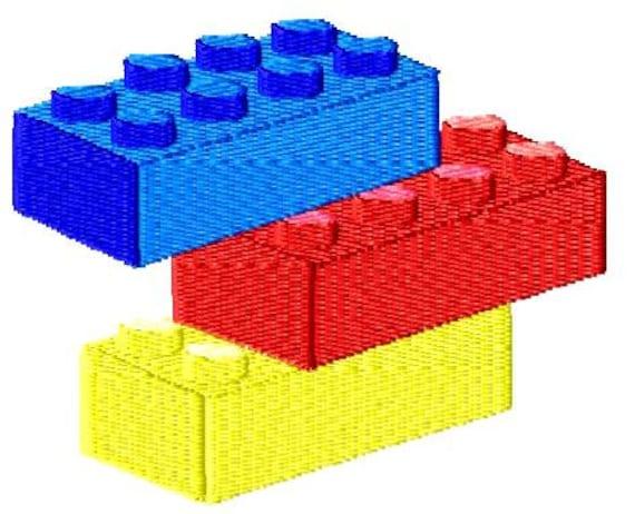 Machine Embroidery Design Lego Blocks Fill Stitch Instant