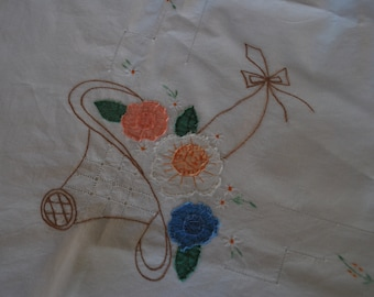 Tablecloth - Flower Basket Applique and Embroidery