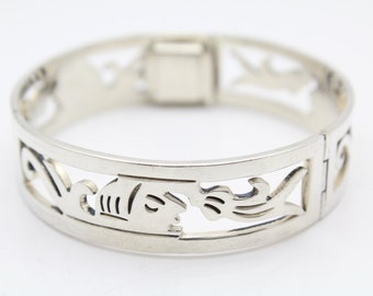 "Thick 7"" Panel Bracelet with Tribal Design in Taxco Sterling Silver. [10729]"