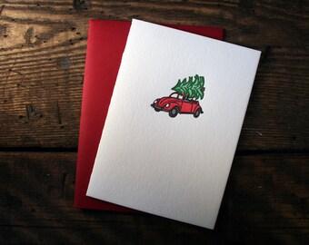 Letterpress Printed Volkswagen Bug Christmas Card - single