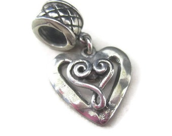Bali Sterling Silver Heart Charm for European Bracelet or Big Hole Pendant Leather Jewelry
