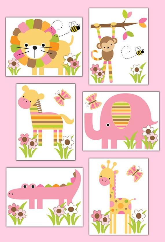 safari nursery decal or wall art prints girl jungle animal