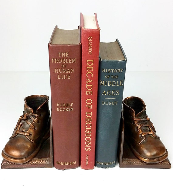 Vintage Bookends Bronze Shoe Bookends, Bronze, Metal Bookends