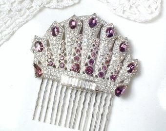 OOAK Antique Art Deco Purple Hair Comb OR Dress Clip, 1920s Wedding Pave Rhinestone Bridal Headpiece/Large Amethyst Fan Fur Clip Edwardian