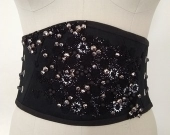 Very Black Beaded Corset