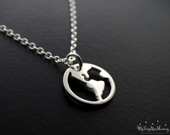 Sterling Silver World Map Necklace Travel Necklace Gold Globe Pendant Traveler Jewelry World Charm Sterling silver Necklace