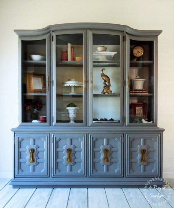 SOLD Stanley Two Piece China Cabinet Dining Room Painted