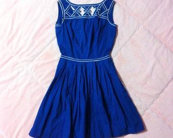 Vintage Navy Blue Dress, Vintage Blue A Line Dress, Vintage Sailor Dress, Blue Dress, Vintage Nautical Sailor Dress