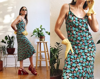 1990s Betsey Johnson Dark Floral Slip Dress with Turquoise and Pink Flower Print Ruffle Detail on Hem and Adjustable Straps size Medium