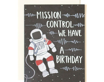 Mission Control We Have A Birthday Illustrated Card // 1canoe2