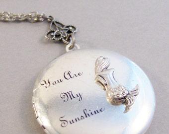 Sunshine Mermaid,Mermaid Locket,Mermaid Necklace,You Are My Sunshine,Sunshine Jewelry,Mermaid,Silver LocketAntique Locket, valleygirldesigns