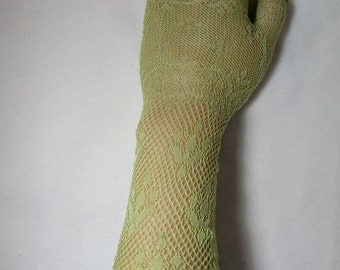 Antique Victorian Edwardian Mittens, Green Lace Fingerless Gloves, 19th Century